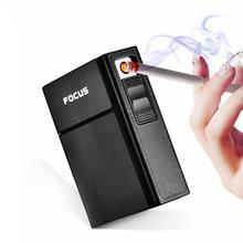 Чехол для сигареты 2 в 1, USB перезаряжаемая ветрозащитная беспламенная Электронная зажигалка, сигаретная коробка