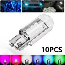 2/10 pçs led carro cunha luz de estacionamento porta lateral lâmpada instrumento da placa licença auto luz t10 w5w wy5w 168 501 2825 cob