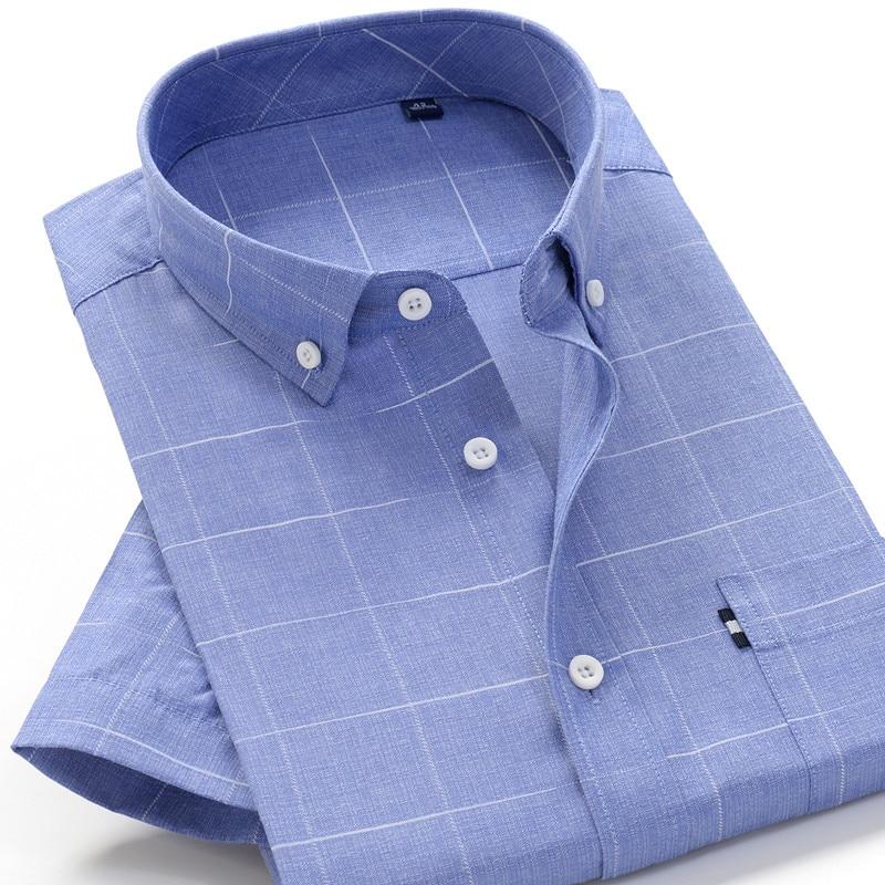 Plus Size Men's Shirt 5XL 6XL 7XL 8XL 9XL 10XL 2020 Summer New  Business Casual Fine Plaid Short Sleeve Shirt Male Brand Clothes