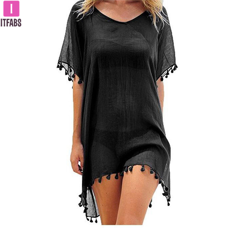 2020 Chiffon Tassels Beach Wear Women Swimsuit Cover Up Swimwear Bathing Suits Summer Mini Dress Loose Solid Pareo Cover Ups