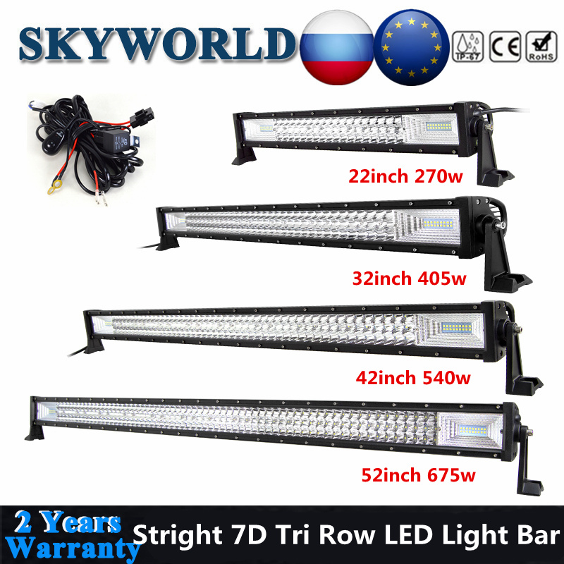 Curved 32inch 405W LED Light Bar Tri row 7D Off road Vehicle Trailer+Wiring Kit