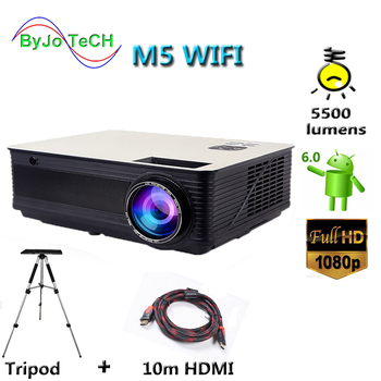 цена на Poner Saund M5 WIFI LCD Projector 5500 Lumen Full HD Android 6.0 Double HIFI speakers Add 10m HDMI Tripod 3D Proyector M5W