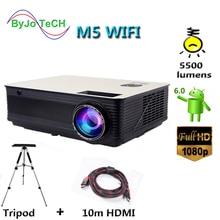 Poner Saund M5 WIFI LCD projecteur 5500 Lumen Full HD Android 6.0 Double HIFI haut parleurs ajouter 10m HDMI trépied 3D Proyector M5W