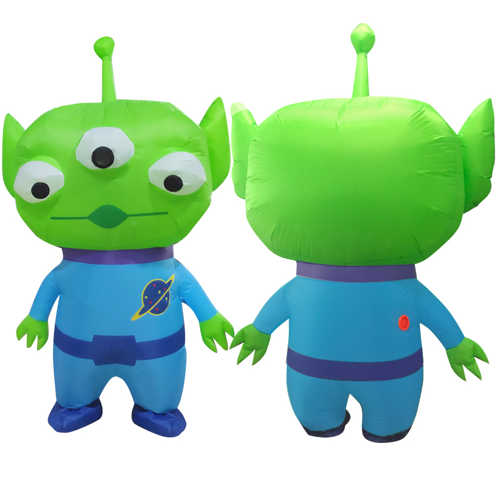 New Three-eyed Green Blue Alien Inflatable Costumes Cosplay Halloween Summer Chirstmas Party Cosplay Monster Mascot Disfraz
