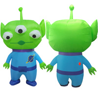 New Three eyed Green Blue Alien Inflatable Costumes Cosplay Halloween Summer Chirstmas Party Cosplay Monster Mascot Disfraz