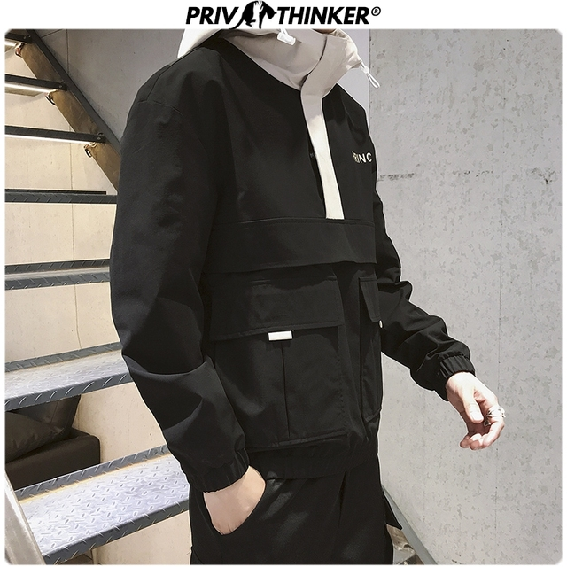 Privathinker Men Autumn Safari Style Fashion Jackets 2019 Mens Hip Hop Hooded Jacket Coat Male Oversize Korean Design Black Tops