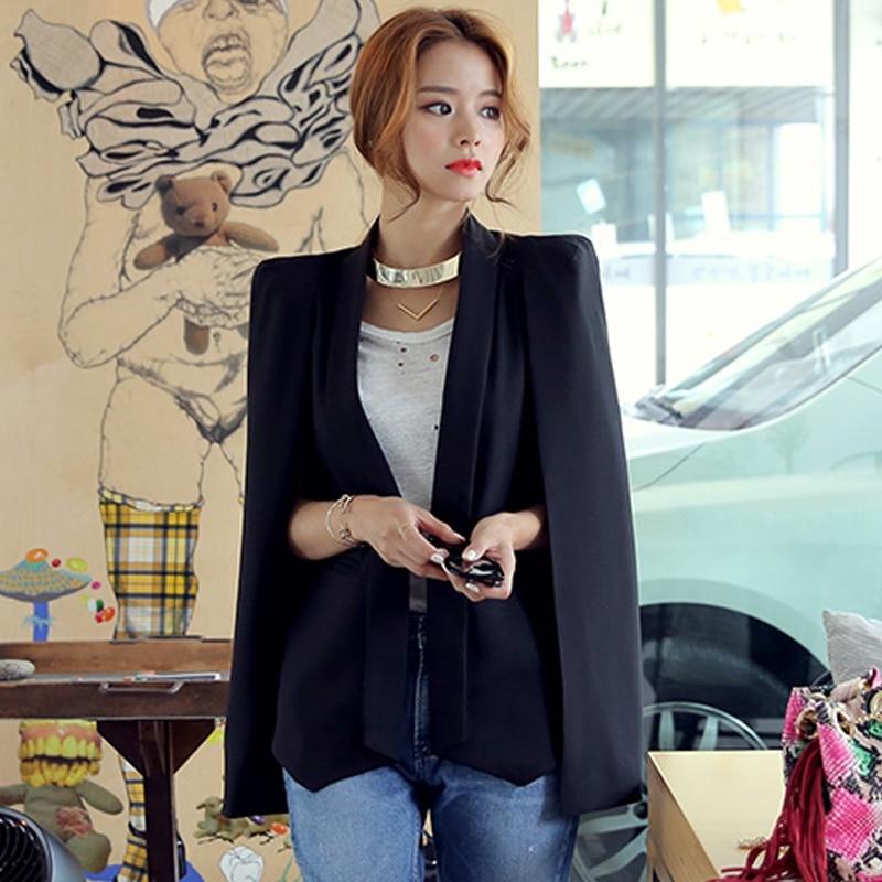 Shawl Collar Split Sleeve Cloak Blazer Cape New Women's Spring Solid Color OL Suit Jacket Coat Black White