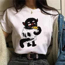 Horror Skull And Cat Graphic Print T-shirt Women Harajuku Aesthetic White Tops Tshirt Tee 2021 New Korea Fashion Female T Shirt