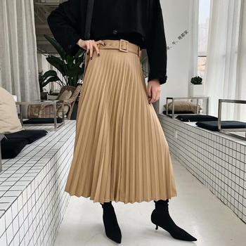 New Women fashion belt solid color pleated midi skirt faldas mujer ladies side zipper vestidos retro casual slim skirts QUN481 4