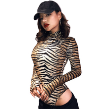 Women Leopard Bodysuit Sexy Club Bodycon Tops Long Sleeve Lady Party Femme Turtleneck Romper