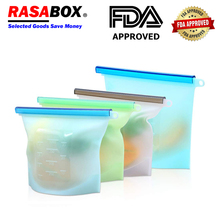 RASABOX - Food Storage & Organization Sets, Reusable Silicone Bags, Freezer for Snack Lunch Sandwich, Containers