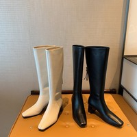 Korean online red square head high boots, autumn and winter 2020 new Knight boots, top layer cowhide high heeled boots