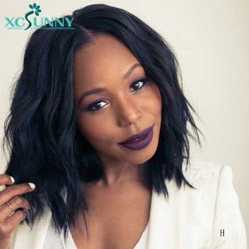 13x6 Short Bob Lace Front Human Hair Wigs For Women Remy Peruvian Lace Frontal  wig Glueless Natural Wave Pre Plucked xcsunny