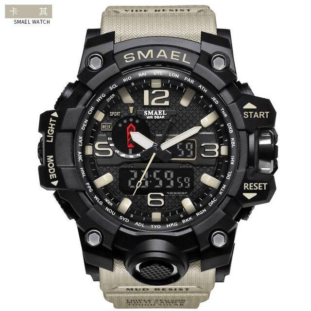 Smael Smill 1545 مزدوجة تظهر أكثر وظيفة حزام التقويم ساعة تنبيه ساعة مضيئة في الهواء الطلق تسلق الجبال الإلكترونية