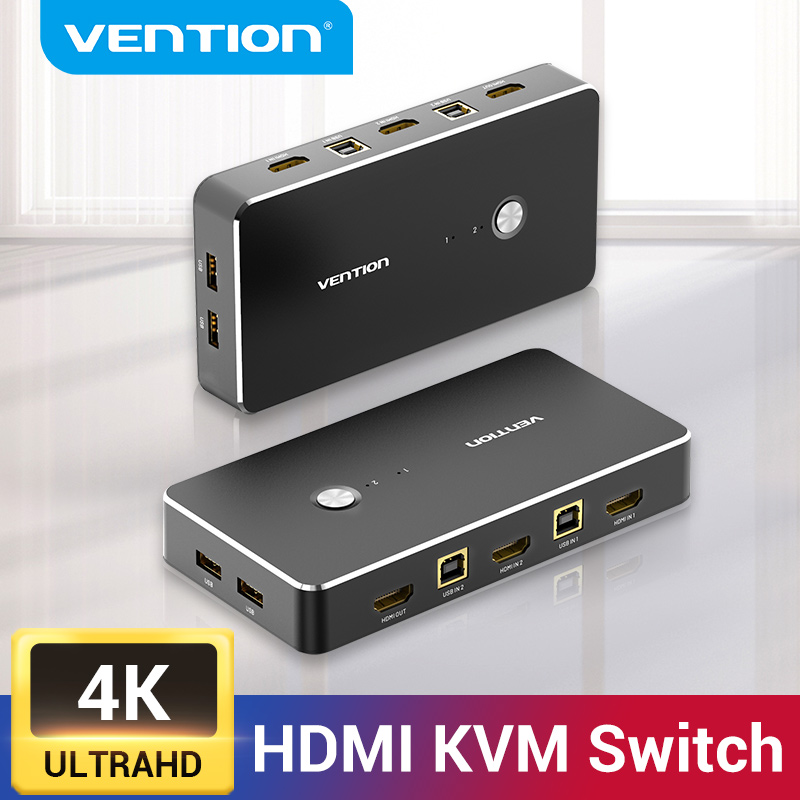 Vention HDMI KVM Switch USB 2.0 Switcher for Printer Monitor Keyboard Mouse 2 PCs Sharing 1 Device 4K/30Hz HDMI VGA KVM Switch