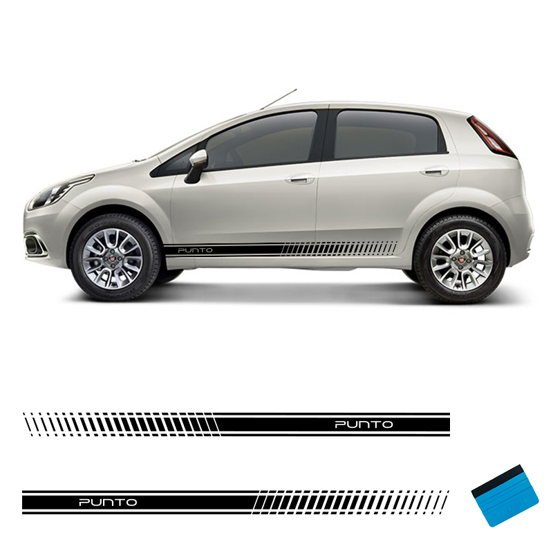 2 PCS Racing Side Stripes Vehicle Decals Stickers Auto Vinyl Graphics For Fiat Punto Abarth