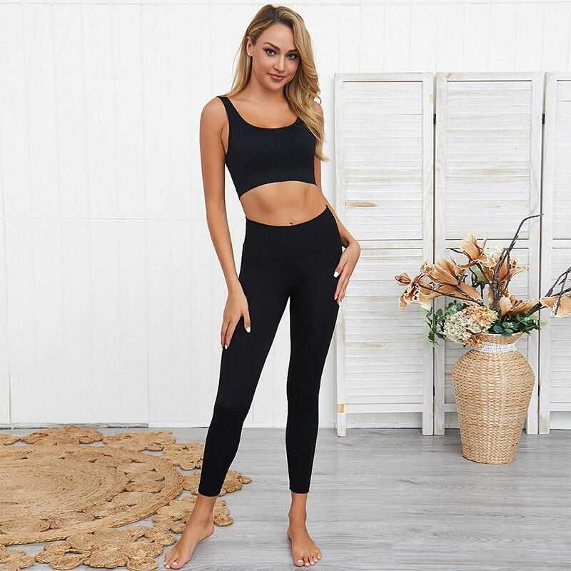 Бесшовный Набор для йоги, женская спортивная одежда, леггинсы для спортзала, спортивный комплект с бюстгальтером, одежда для тренировок для...