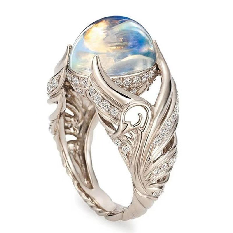 Vintage White Swan Ring Moonstone Ring White Opal Vine Rings For Women Wedding Jewelry