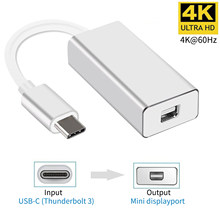 Usb c para mini dp 4k 60hz tipo c para mini adaptador de porta de exibição plug and play thunderbolt 3 para mini conversor dp para macbook pro