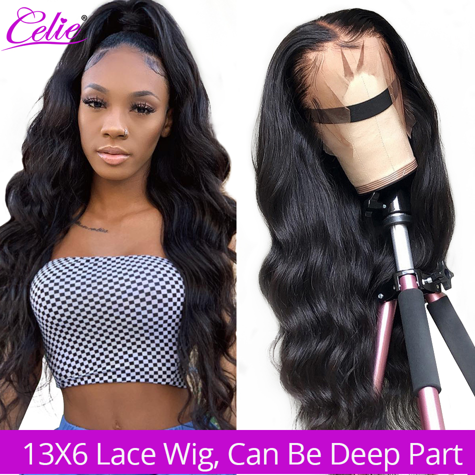 Celie 13x6 Body Wave Wig Lace Front Human Hair Wigs  250 Density Remy Brazilian 360 Lace Frontal Wig Pre Plucked With Baby Hair-in Human Hair Lace Wigs from Hair Extensions & Wigs