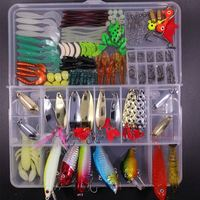 Fishing Lures Set 180pcs Tackle Lots Including Frogs Lures Hard Lures Soft Lures Metal Hooks Spoon Lures Crank Popper