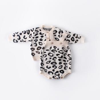 2019 zima jesień Leopard sweter płaszcz znosić dla dzieci niemowlęta dziewczyny dzieci dzieci swetry sweter z dzianiny Romper S9811 tanie i dobre opinie Bergawa Nowość COTTON Poliester Stałe Pełna REGULAR O-neck Unisex NONE Przycisk zadaszone