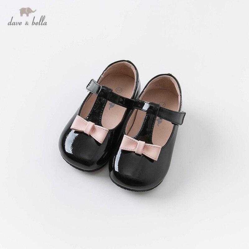 db14720 dave bella primavera outono bebe menina rosa arco sapatos de couro criancas meninas marca sapatos