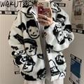 WAKUTA Winter Wolle Mantel Weibliche Street Wear Chic Nette Lustige Drucken Mäntel und Jacken Beiläufige Lose 2020 Winter Kleidung für frauen