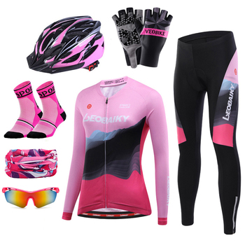 Hot Long Sleeve Cycle Jersey Set Women Cycling Clothing Pro Team Mtb Road Bike Clothes Maillot Ciclismo Bicycle Jersey Skinsuit phtxolue long sleeve pro cycling set 2017 maillot ciclismo mtb jersey bike wear clothes summer cycling clothing men