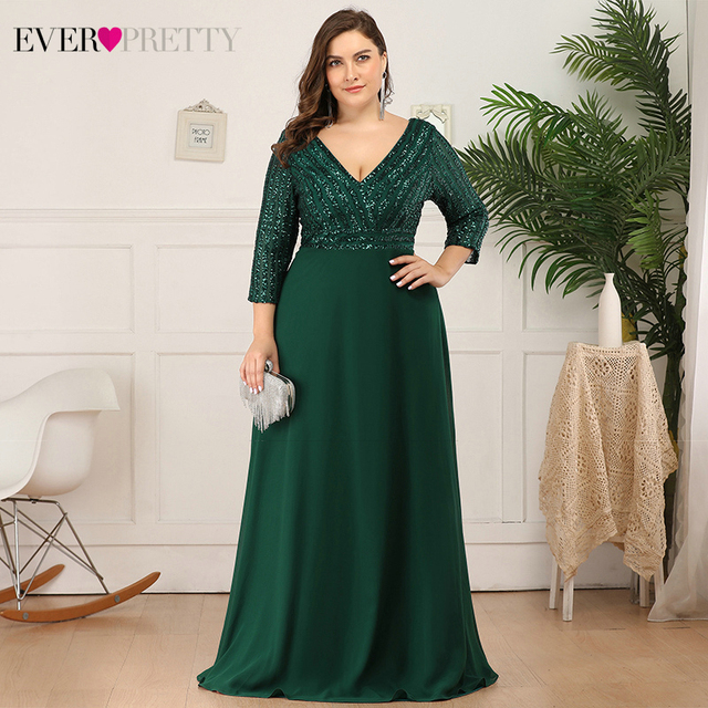 Plus Size Sequined Evening Dresses Ever Pretty 3/4 Sleeve A-Line Double V-Neck Elegant Sparkle Party Gowns Abiye Gece Elbisesi 2
