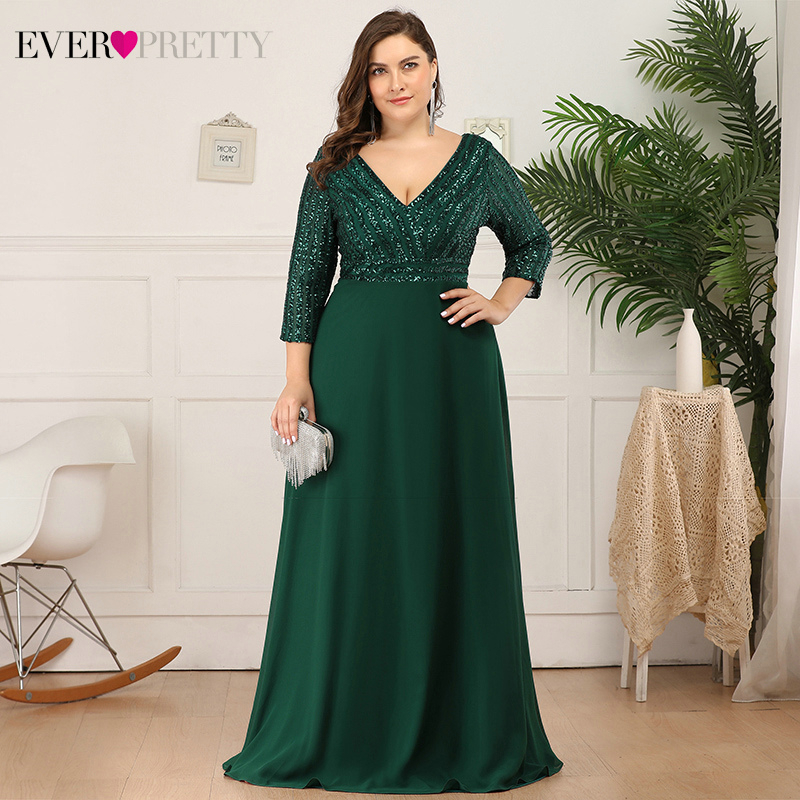 Ultimate SalePlus Size Sequined Evening Dresses Ever Pretty 3/4 Sleeve A-Line Double V-Neck Elegant Sparkle Party Gowns Abiye Gece Elbisesi
