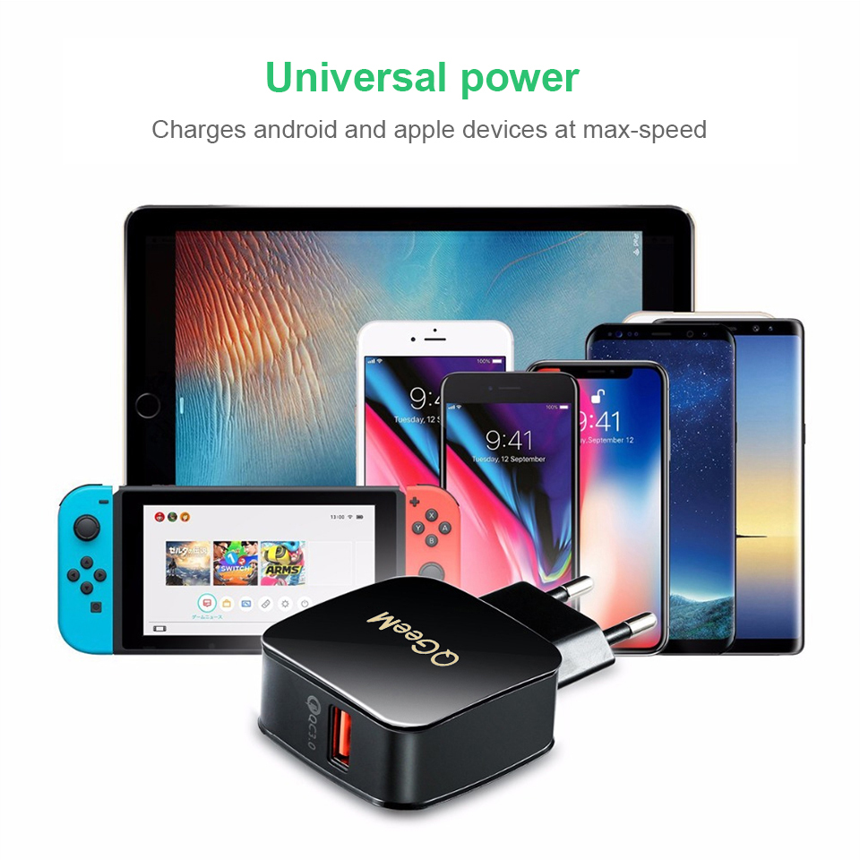 Image 3 - QGEEM QC 3.0 USB Charger Quick Charge 3.0 Phone Charger for iPhone 18W3A Fast Charger for Huawei Samsung Xiaomi Redmi EU US Plug-in Mobile Phone Chargers from Cellphones & Telecommunications