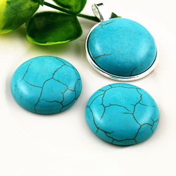 New Fashion 10pcs 25mm  Naturelle Turquoise Material Flat Back Cabochons Cameo  G4-17 1