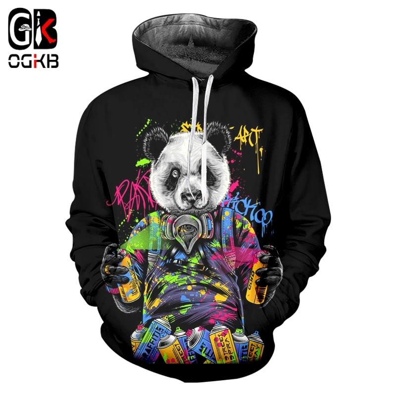 OGKB Men's New Cool Hoodie 3D Printing Creative Panda Clothing Men Spandex Streetwear Top Hoodie Dropshipping