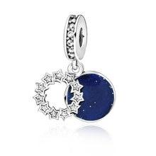 100% Твердые бусины, Вдохновляющие звезды и синяя эмаль, подвеска-Шарм, подходят для оригинальных браслетов Pandora, женские Украшения «сделай са...