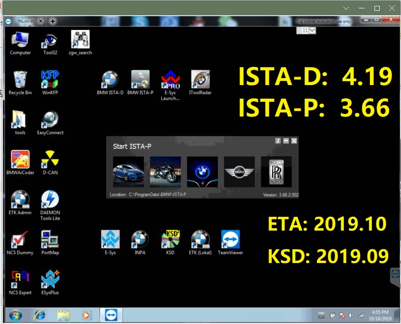 2019.09 ISTA/D 4.19 ISTA/P 3.66 For BMW ICOM Software HDD/SSD Multi-language With Engineers Programming Windows 7 Free Shipping