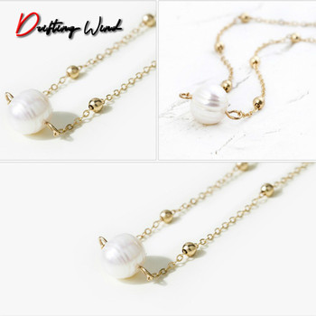 Women Necklace Beads Charms Necklaces Artificial Pearl Chain Ladies Pendant Girls Jewelry Gold Color Trendy Kpop Metal Halskette image