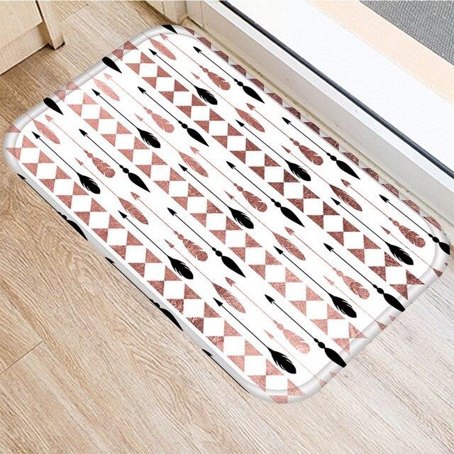 Brown Geometric Non slip Mat Home Bedroom Decorative Carpet Kitchen Living Room Floor Mat Bathroom Non slip Door Mat 40x60cm  ..