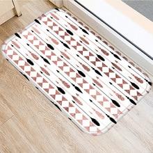 Nâu Hình Học Thảm Chống Trơn Nhà Phòng Ngủ Thảm Trang Trí Bếp Phòng Khách Sàn Nhà Tắm Chống Trơn Trượt Cửa thảm 40X60Cm ..