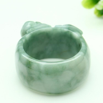 (Certificate) Drop Shipping Natural Light Green AAA Grade Jadeite Jade Ring Finger 3D Carved PIXIU Gift For Men's  Jewelry 1