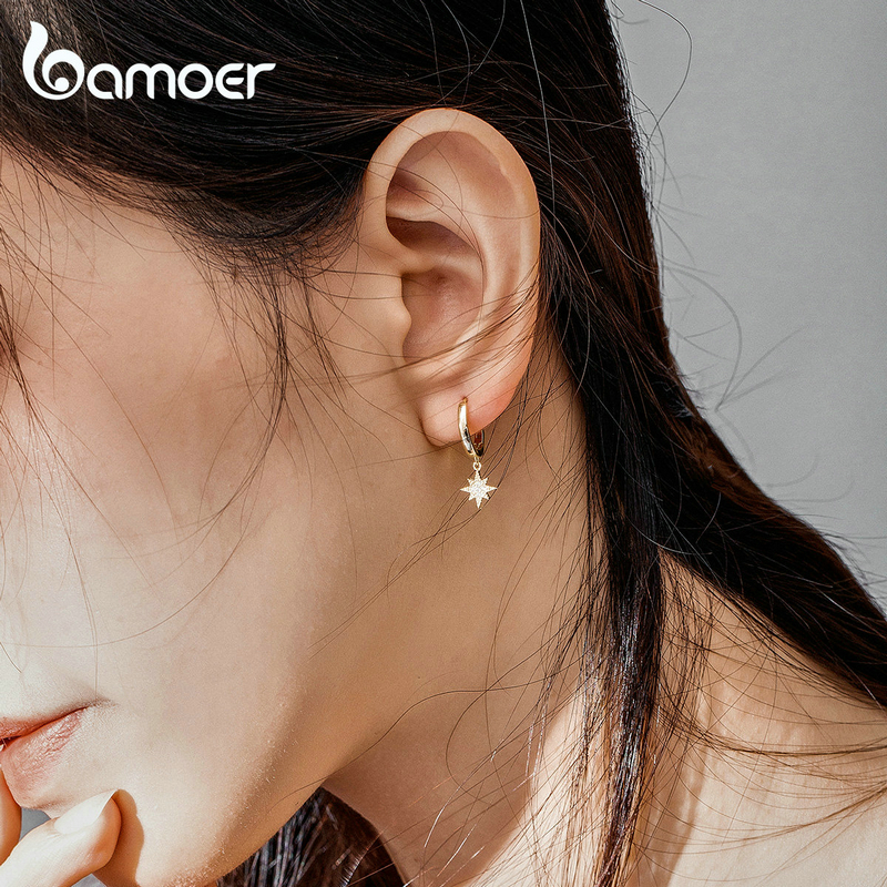 bamoer Genuine 925 Sterling Silver Moon and Star Dangle Earrings with Charm Clear CZ Gold Color Jewelry 2020 New Bijoux SCE785