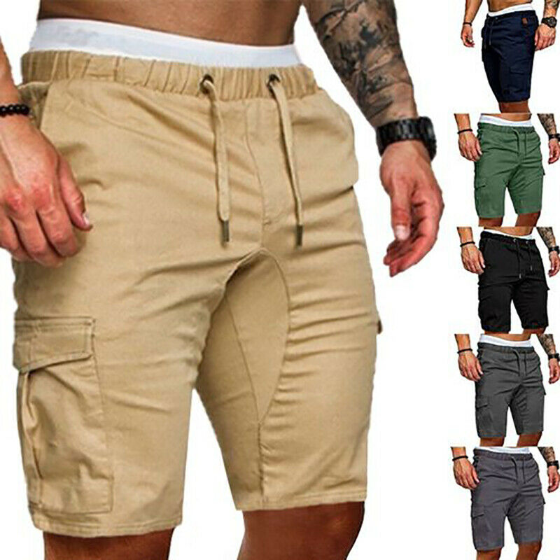 Mens Summer Shorts Gym Sport Running Workout Cargo Pockets Pants Solid Jogger Trousers
