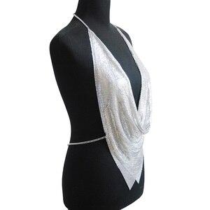 Image 3 - מתכת Mesh גוף שרשרת מקסי תכשיטי מבריק פאייטים חזיית גוף תכשיטי נשים גוף שרשרת תכשיטי הצהרת גדול