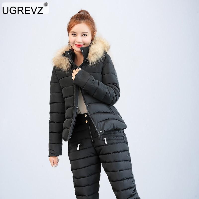 2019 mode hiver femmes chaud neige ensemble à capuche Parka manteau + pantalon survêtement deux pièces ensemble femme en coton veste costume pour les femmes
