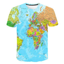 T-shirt, 3D printing, bright world map, T-shirt travel animation, fashionable boys and girls, short sleeve clothing