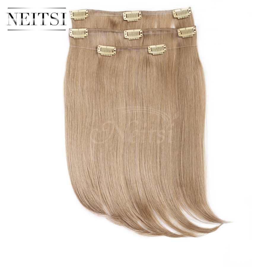 Neitsi 14 ''recta 3 unids/set Clip sintético en extensiones de cabello 8 Clips fibra de alta temperatura Natural Rubio 75g