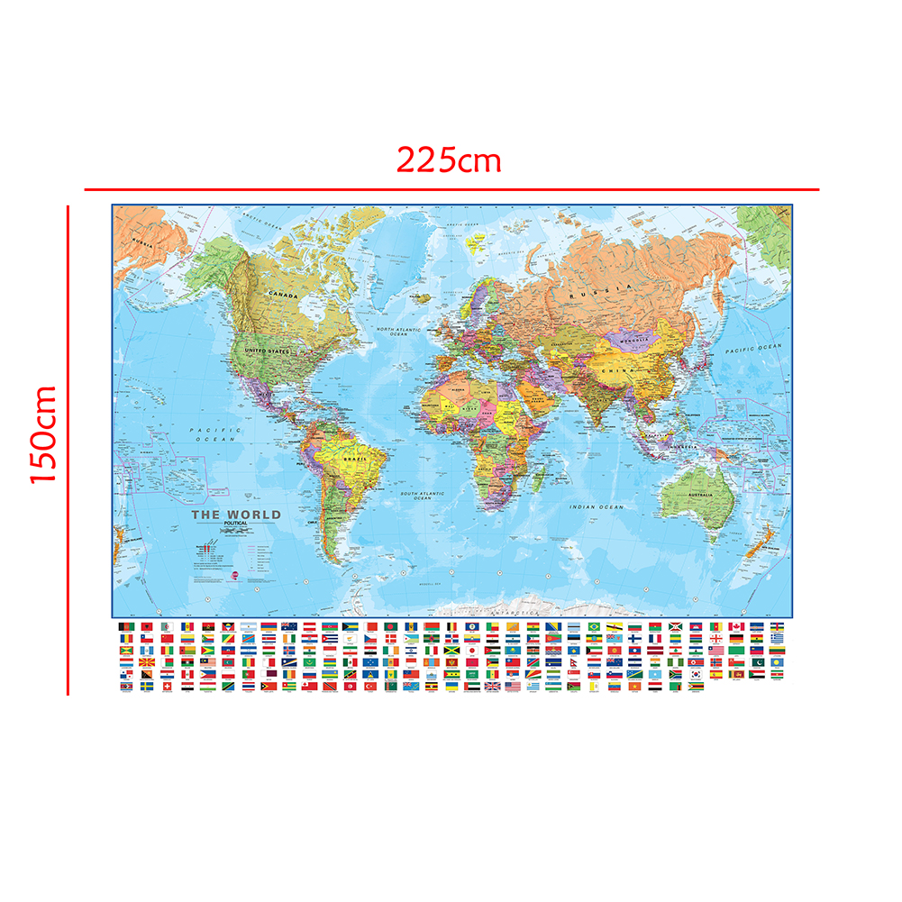 The World Political Physical Map 150x225cm Foldable No-fading World Map With National Flags For Culture And Education