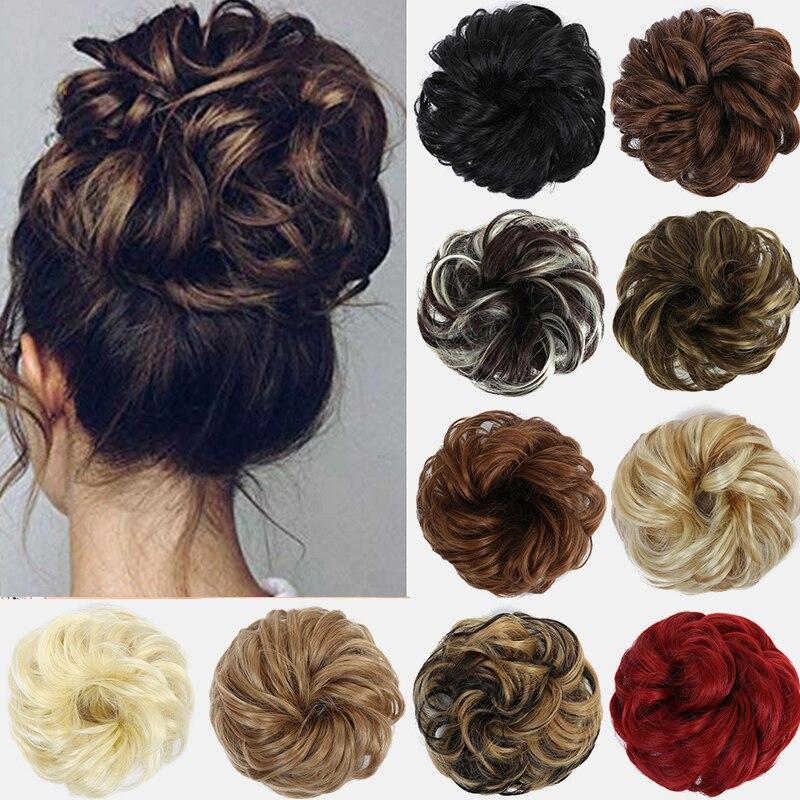 2020 Женские синтетические гибкие пучки волос для девочек, вьющиеся шиньон, эластичные волнистые шиньоны для наращивания конского хвоста