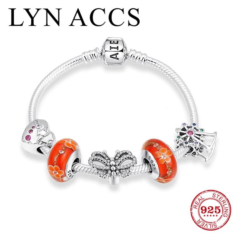 Beaux souvenirs 925 Bracelets en argent Sterling verre de Murano coloré CZ coeur perles serpent chaîne Bracelets femmes bijoux de fête