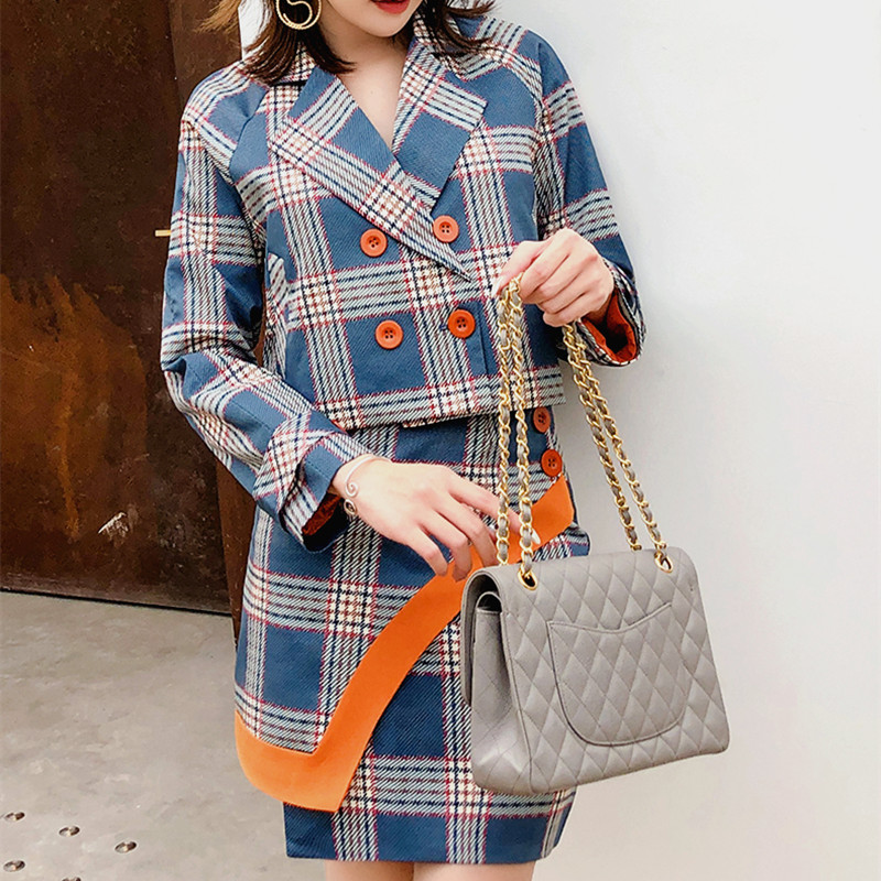 2019 Women Plaid Short Blazers Mini Skirt Two Pieces Sets Elegant Women Plaid Skirt Suits Spring Autumn Blazers Skirts CC141